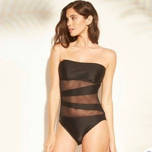 Shade & Shore Mesh Inset Bandeau in Black